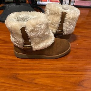 Brown furry ankle boots